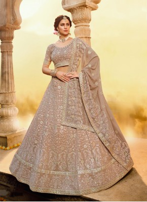 Brown Sangeet Georgette Trendy Lehenga Choli