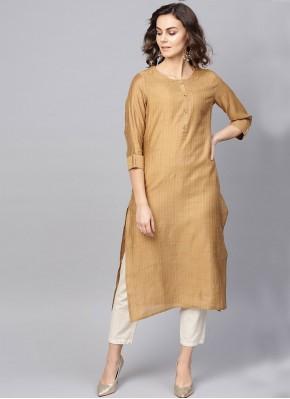 Brown Silk Party Wear Kurti