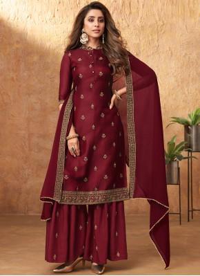 Burgundy Embroidered Designer Pakistani Suit