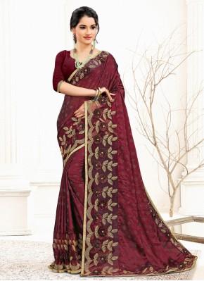 Burgundy Mehndi Banglori Silk Designer Traditional Saree