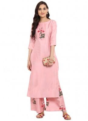 Capricious Print Poly Silk Pink Designer Kurti