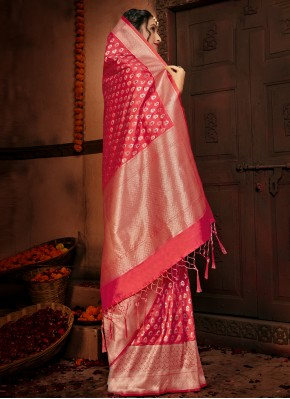 Capricious Silk Woven Red Designer Traditional Saree