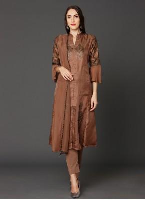 Captivating Brown Reception Pakistani Salwar Kameez