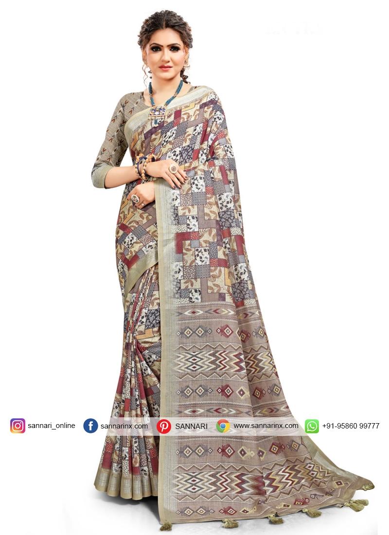 Captivating Digital Print Linen Printed Saree