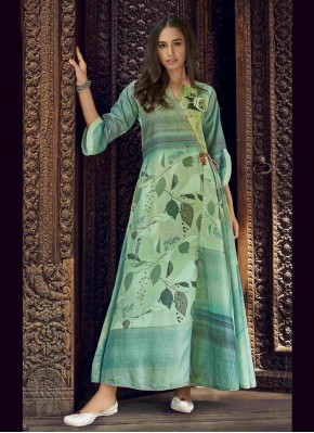 Captivating Fancy Fabric Green Printed Party Wear Kurti