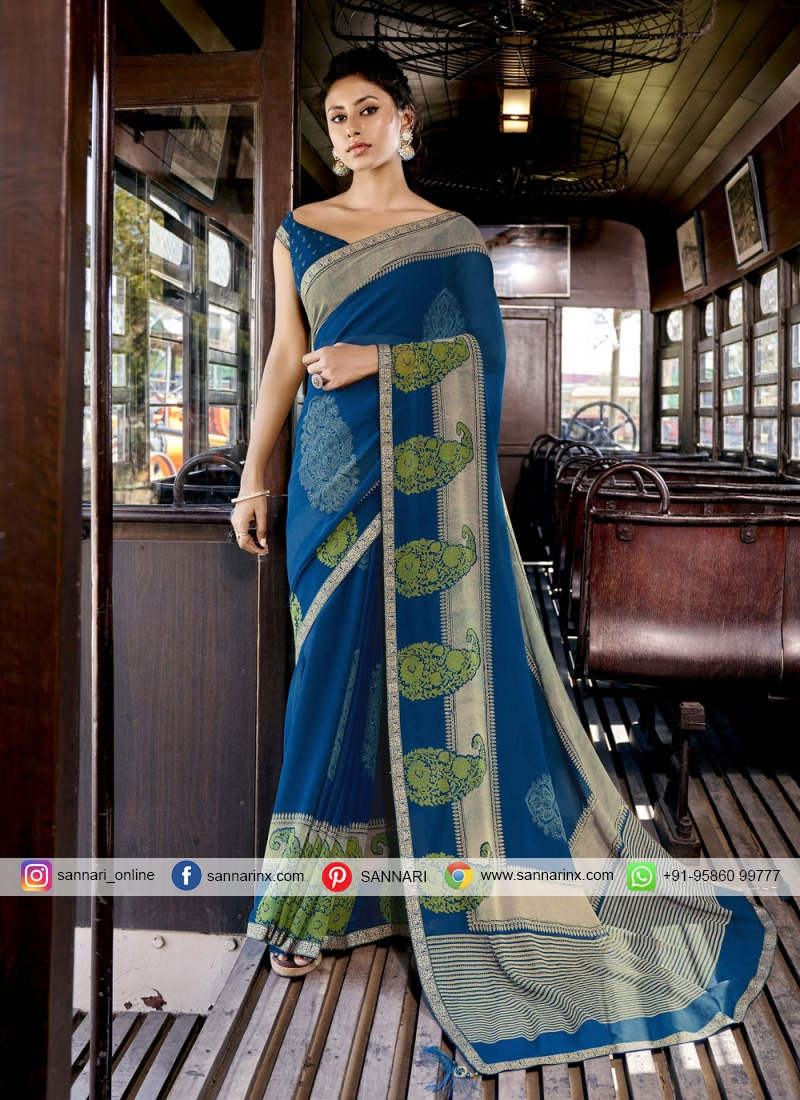 Captivating Faux Georgette Blue Abstract Print Printed Saree