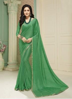 Captivating Green Festival Printed Saree