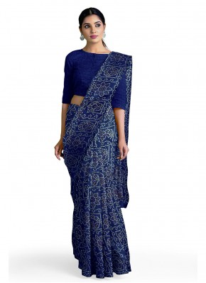 Casual Saree Abstract Print Faux Georgette in Blue