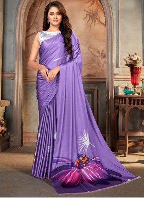 Casual Saree Print Satin in Purple