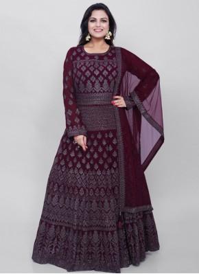 Catchy Embroidered Georgette Magenta Ankle Length Anarkali Salwar Suit
