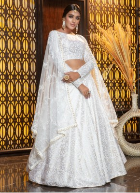Catchy Foil Print White Cotton Trendy Designer Lehenga Choli