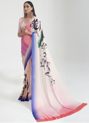 Catchy Multi Colour Digital Print Satin Shaded Saree