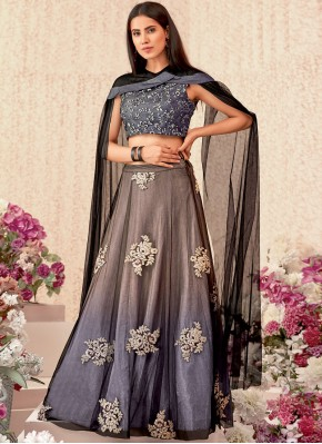 Catchy Thread Work Beige and Grey Lycra Trendy Designer Lehenga Choli