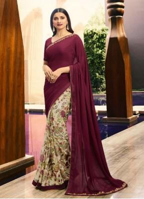 Catchy Wine Printed Bollywood Saree