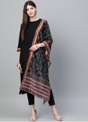 Celestial Black Plain Rayon Pakistani Salwar Suit
