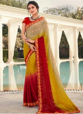 Celestial Embroidered Faux Chiffon Multi Colour Shaded Saree