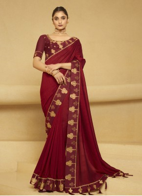Celestial Embroidered Maroon Designer Traditional Saree