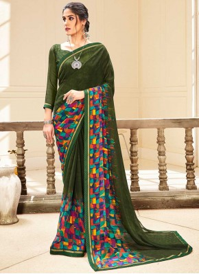 Celestial Green Faux Georgette Traditional Saree