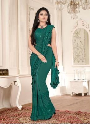 Celestial Green Sequins Classic Designer Saree