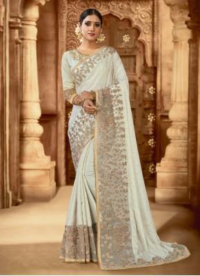 Celestial Off White Wedding Trendy Saree
