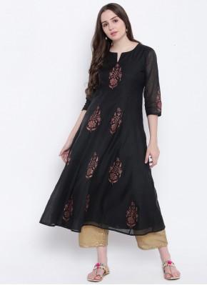 Chanderi Black Print Party Wear Kurti