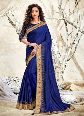 Chanderi Blue Classic Designer Saree