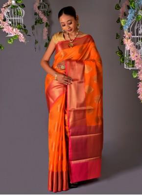 Chanderi Cotton Classic Designer Saree in Orange