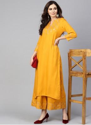 Chanderi Cotton Print Mustard Designer Kurti