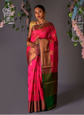 Chanderi Cotton Traditional Designer Saree in Hot Pink