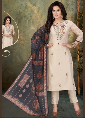 Chanderi Embroidered Beige Readymade Suit