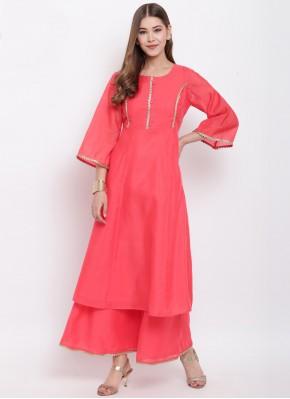 Chanderi Fancy Rose Pink Party Wear Kurti