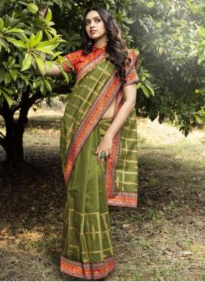 Chanderi Green Traditional Designer Saree
