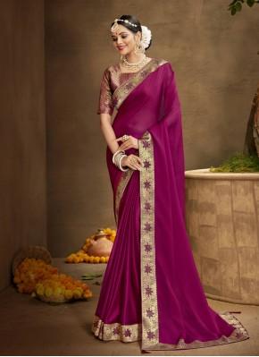 Chanderi Magenta Patch Border Designer Traditional Saree