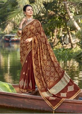 Chanderi Multi Colour Foil Print Printed Saree