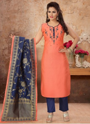 Chanderi Orange Embroidered Readymade Suit