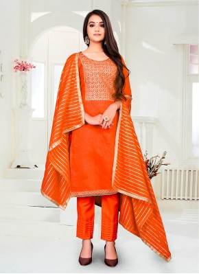 Chanderi Pant Style Suit in Orange
