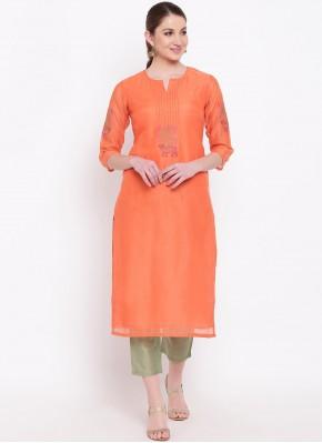 Chanderi Party Wear Kurti in Orange