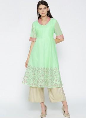 Chanderi Sea Green Party Wear Kurti