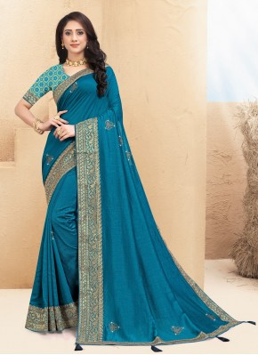 Charismatic Blue Lace Traditional Saree