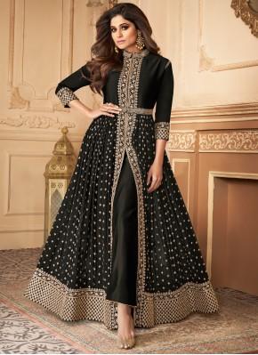 Charismatic Embroidered Georgette Black Bollywood Salwar Kameez