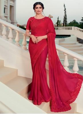 Charismatic Embroidered Red Prachi Desai Classic Designer Saree