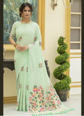 Charismatic Linen Print Classic Saree