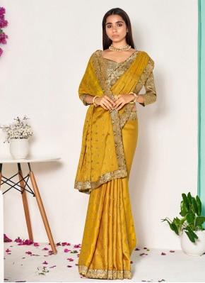 Charismatic Mustard Silk Designer Traditional Saree