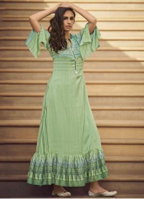 Charismatic Printed Rayon Sea Green Party Wear Kurti