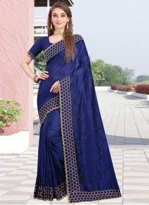 Charismatic Resham Silk Navy Blue Contemporary Style Saree