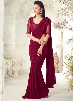 Charismatic Silk Fancy Maroon Classic Designer Saree