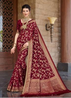 Charismatic Weaving Maroon Traditional Saree