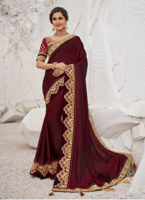 Charming Aari Work Satin Silk Designer Saree