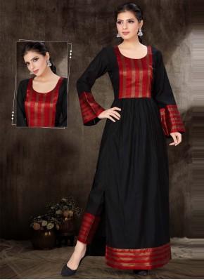 Charming Black Cotton Silk Party Wear Kurti