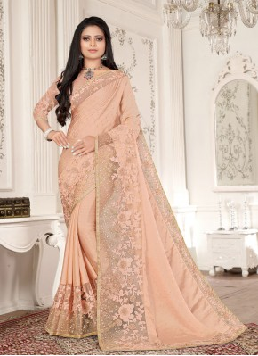 Charming Embroidered Peach Fancy Fabric Designer Saree